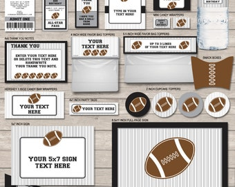 Football Party Printables, Invitations & Decorations - Silver and Black - INSTANT DOWNLOAD with EDITABLE text - you personalize at home