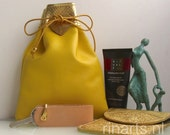 Leather drawstring pouch / yellow leather drawstring bag / drawstring purse in yellow and gold lambskin.  Gift under 20.