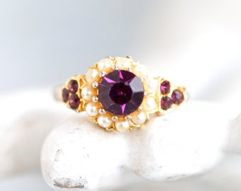 Purple Ring - Cocktail Ring with Rhinestones and Pearls - Size 6.5