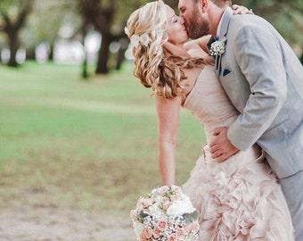Wedding hair flowers, Bridal hair accessory, Lace Bridal hair flowers, Champagne hair pins, Bridal hair piece, Vintage style hair accessory