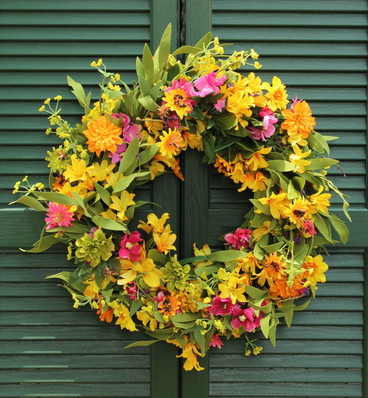 Floral Summer Door Wreath Flower Wreath Summer Door Decor