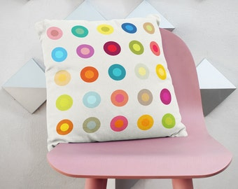 Decorative pillow cover with colourful circles, kids bedding, kids pillows, cushion cover, pillows for kids, kids throw pillow, modern kids