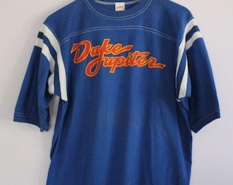 Vintage 1970's Duke Jupiter Blue Football Jersey Raglan Tshirt L