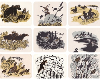 Animals, Drawings by E. Zakharov. Set of 9 Postcards -- 1963