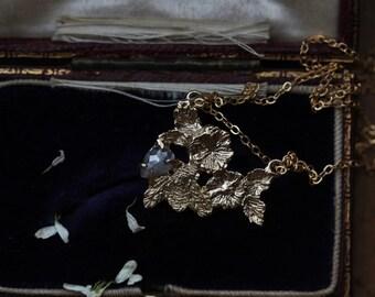 Grey Diamond Necklace, Rose Cut Diamond Necklace, Rustic Diamond Necklace, Flower Necklace, Bee Necklace, Bee Jewelry, April Birthstone.