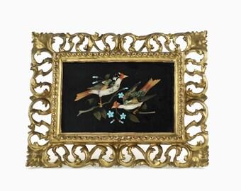 Antique Fine Italian Pietra Dura Bird Motif Plaque in Carved Florentine Giltwood Frame