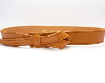 Light tan  buckle-less leather belt  by Muse