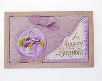 "Antique 1900's 3D Celluloid ""Happy Birthday"" Post Card - Lavender Puffy Plush Fur Fiber - Satin Ribbon - Cabinet Display Card"
