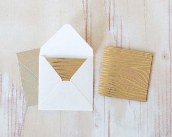 "Gold Foil Wood Grain / Brown Kraft Mini Square Folded Cards - 10 pc - 2.5"" x 2.5"""