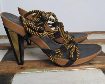 Vintage 90s DVF rope lace up disco sandals // Diane Von Furstenberg // suede // gold metallic // boho heels // size 10