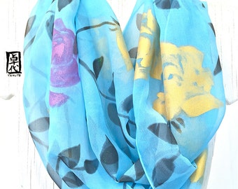 Infinity Scarf, Blue Spring Scarf, Blue Loop Scarf, Silk Scarf Handpainted, Blue, Gold, Purple Roses, Takuyo, 14x72 inch. Made to order
