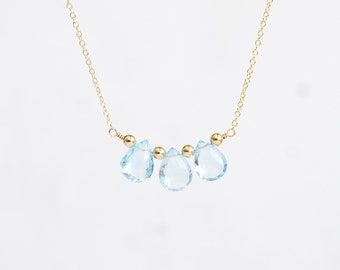 Blue Topaz Necklace - three baby blue topaz gemstones in 14k gold filled or sterling silver, light powder blue, November birthstone jewelry