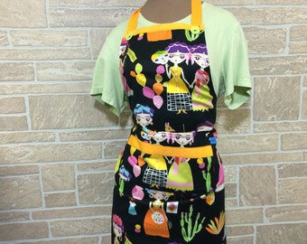 Black apron, Mexican inspired apron, novelty apron, day of the dead apron