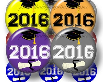 Class Of 2016, 1 Inch Circle, Bottle Cap Images, 2 Digital Collage Sheets, Graduation, Instant, Digital, Download, For Pendants, Magnets (3)