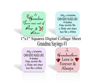 Grandma, Sayings, 1 Inch Square, Digital Collage Sheet, 1 x 1 Inch, Grandmother, Quotes, Pendants, Magnets, Cabochon, (No 1)