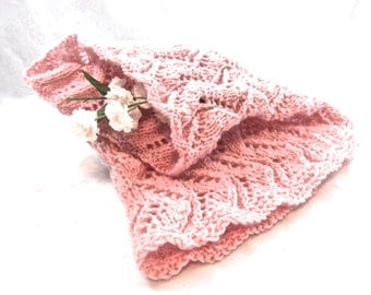 Lace Cowl Scarf Neckwear Neck Muff BLUSH all-season bridal wedding hand knit lampshade cover