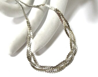 """Vintage Sterling Silver Braided Chain Necklace, Triple Braid, signed 925, 18"""" chain, Excellent"""