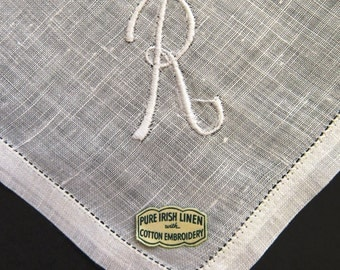 Vintage Gentlemens Initial R Handkerchief - Letter Monogram R Embroidered White Linen Hanky Hankie - Wedding Father of Bride - Gift