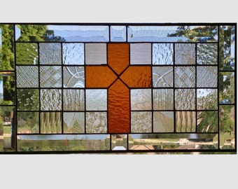 Stained glass panel window hanging amber cross clear geometric stained glass window panel suncatcher modern 0153 20 3/4 x 11 1/8
