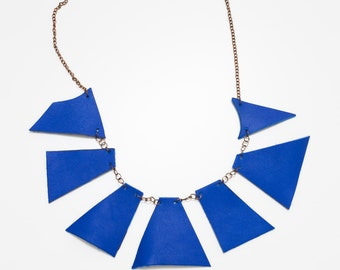 Large electric blue leather bib - hand painted leather necklace - Triangular Necklace - Geometric Leather Necklace - urban modern necklace