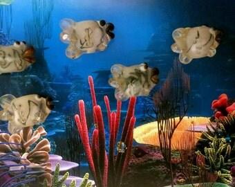 5 Handmade Lampwork Clown Fish Bead Glass Pink, Black Fish with Big Purple Lips Clown Fish