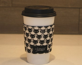 Reusable Coffee Cup Cozy Black Pussy Cat Print Fabric Print Reusable Paper Cup Sleeve