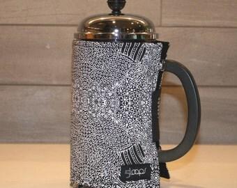 French Press Coffee Cozy in Black & White Australian Aboriginal Designer Print French Press Wrap in Australian Indigenous Designer Fabric