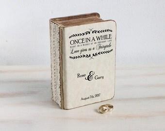 Rustic ring bearer box, Personalized ring box, Wedding Ring Box, Wedding box, Еngagement ring box Ring holder Custom ring box Book ring box
