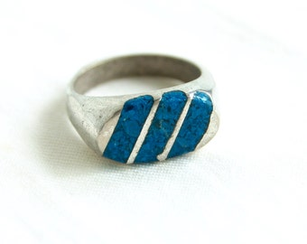 Turquoise Ring Band Size 7 Vintage Sterling Silver Chip Turquoise Biker Ring Made in Mexico