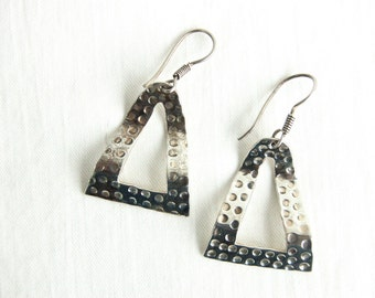 Triangle Dangle Earrings Sterling Silver Vintage Mexican Taxco Mexico Textured Dangles Modern Jewelry