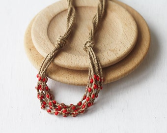 Red layered necklace Natural linen jewelry Boho chic Rustic Multi strand crochet beaded necklace Gift for her Spring