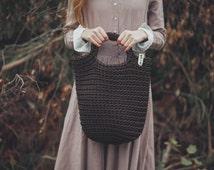 Rope Bag, Brown, Crochet Bag, Knitted Bag, Hand Made, Christmas Gift, Chocolate Handbag, Sand bag, Tote