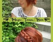 HEADBAND custom color HAIR PIECE Goth hair jewelry Steampunk hair accessory Tribal Belly Dance headpiece Elastic Cosplay Larp Headband
