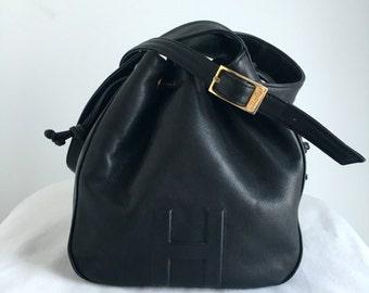Vintage Halston Black Leather Drawstring Bucket Shoulder Bag