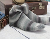 Knitted Wool socks  Hand Made grey taupe and charcoal SILK and MOHAIR winter socks Hipster MENS socks. Large size. Mens dress socks in lace