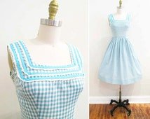 Vintage 1950s Dress | Aqua Blue Gingham and Lace 1950s Sundress | size xs - small
