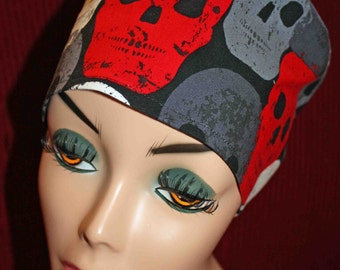Red, White and Gray Skulls Surgical Cap (biker/chemo/surgical)