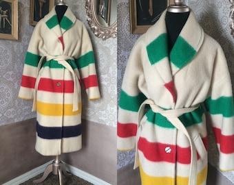 Women's Vintage Striped Hudson's Bay Point Blanket Coat XL/XXL