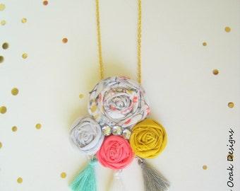 Boho Tassel Necklace, Flower Tassel Necklace,Boho Chic Necklace, Tassel Necklace,Boho Necklace,Textile Boho Necklace, Tassel Jewelry, Boho