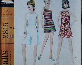 McCall 8815 1960s 60s Culotte's Dress Playsuit Vintage Sewing Pattern Size 14 Bust 34