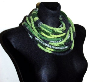 Grey and Green Ifinity Scarf, Grey and Green Crochet Scarf, Rope Scarf, Crochet Infinity Scarf