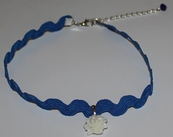 Electric Blue Ric Rac Choker Cabochon Flower Necklace Handmade