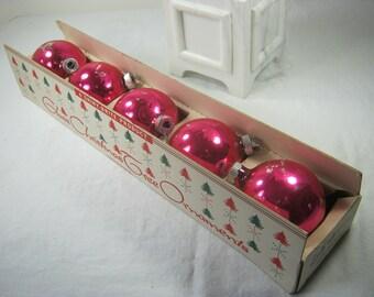 Vintage SHINY BRITE ORNAMENTS Set/5 Hot Pink MERCuRY Glass + Box Fuchsia Christmas Tree