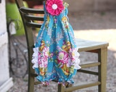 Blue Floral Baby Bubble with Detachable Pink Flower, Halter Back & Gold Dot Ruffles