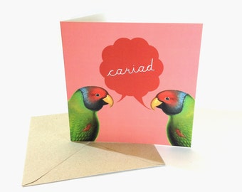 Cariad Welsh Love Large Badge Blank Eco Friendly Square Greeting Card