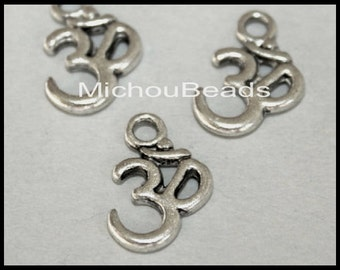 5 SILVER 15mm OM Symbol Yoga Charms - 15x10mm Ohm Meditation Buddhist Symbol Nickel Free Charm Pendant - Instant Ship from USA - 5749