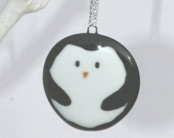 Handmade Fused Glass Penguin Christmas Decoration