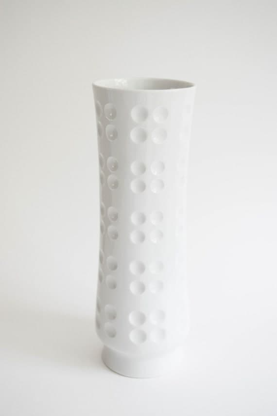 Mid Century Glazed White Porcelain Geometric Vase // Schumann Arzberg West Germany