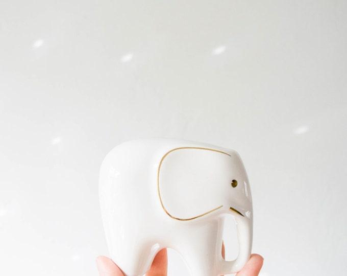 Mid Century Modern Handmade Ivory and Gold Glazed Porcelain Elephant Set // Heirloom Gifts // Scandinavian Kids Room // Baby Nursery