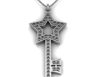 Diamond Star Key Necklace in 14k White Yellow Rose Gold accented by 40 diamonds 0.80 ct | made to order for you within 5-7 business days